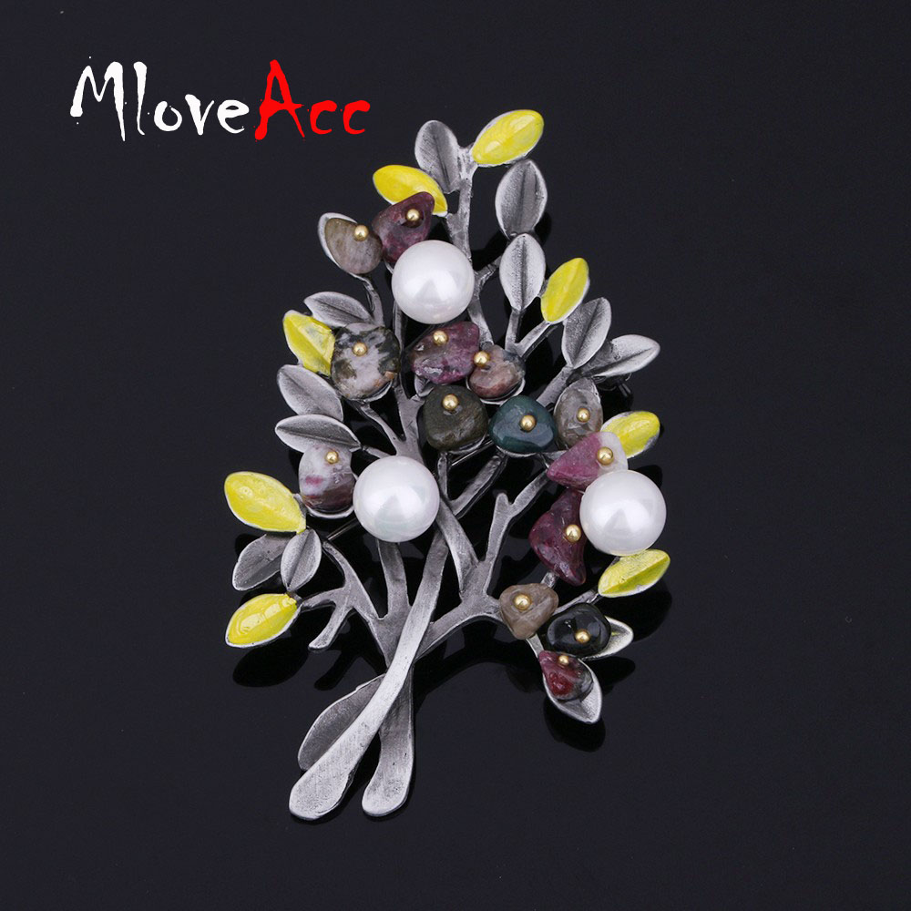 MloveAcc Vintage Natural Stone Brooch Pendant Retro Tree Shape - Fashion Jewelry - Photo 6