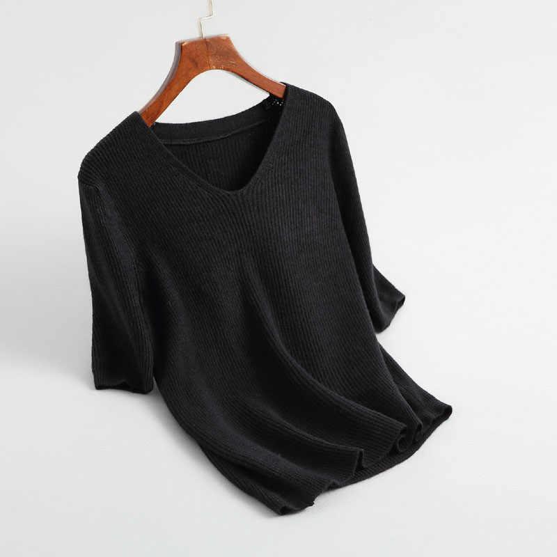 J729 여성 우아한 v 목 짧은 소매 기본 스웨터 office 레이디 일치 모든 가을 겨울 스웨터 니트 탑스