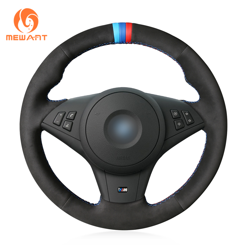 MEWANT Black Genuine Leather Suede Hand Sew Wrap Car Steering Wheel Cover for BMW E60 M5 2005-2008 E63 E64 Cabrio M6 2005-2010MEWANT Black Genuine Leather Suede Hand Sew Wrap Car Steering Wheel Cover for BMW E60 M5 2005-2008 E63 E64 Cabrio M6 2005-2010