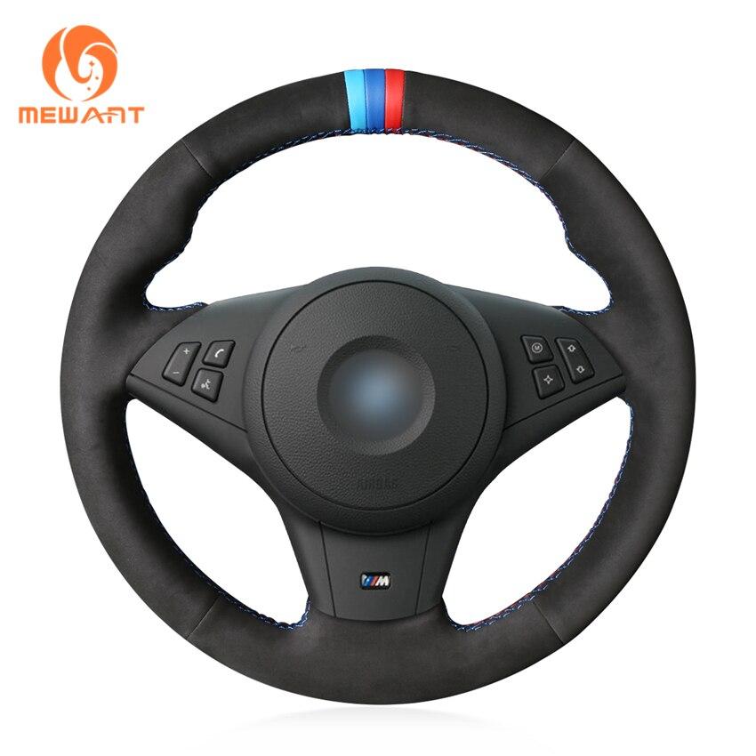 MEWANT Black Genuine Leather Suede Hand Sew Wrap Car Steering Wheel Cover for BMW E60 M5 2005 2008 E63 E64 Cabrio M6 2005 2010