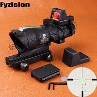 Fyzlcion Hunting Scope ACOG 4X32 Fiber Source Red Illuminated With RMR Micro Red Dot Riflescope Use
