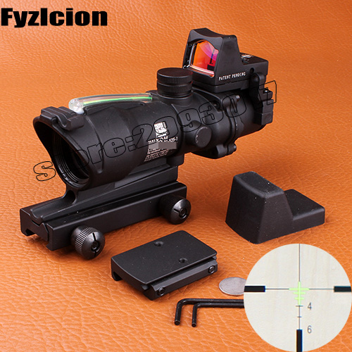 Fyzlcion Hunting Scope ACOG 4X32 Fiber Source Red Illuminated with RMR Micro Red Dot Riflescope Use for Tactical Airsoft