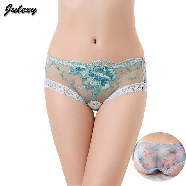 Julexy  sexy Brand hollow out women panties embroidered S-XL lingerie transparent lace printing briefs underwear for girl 1385