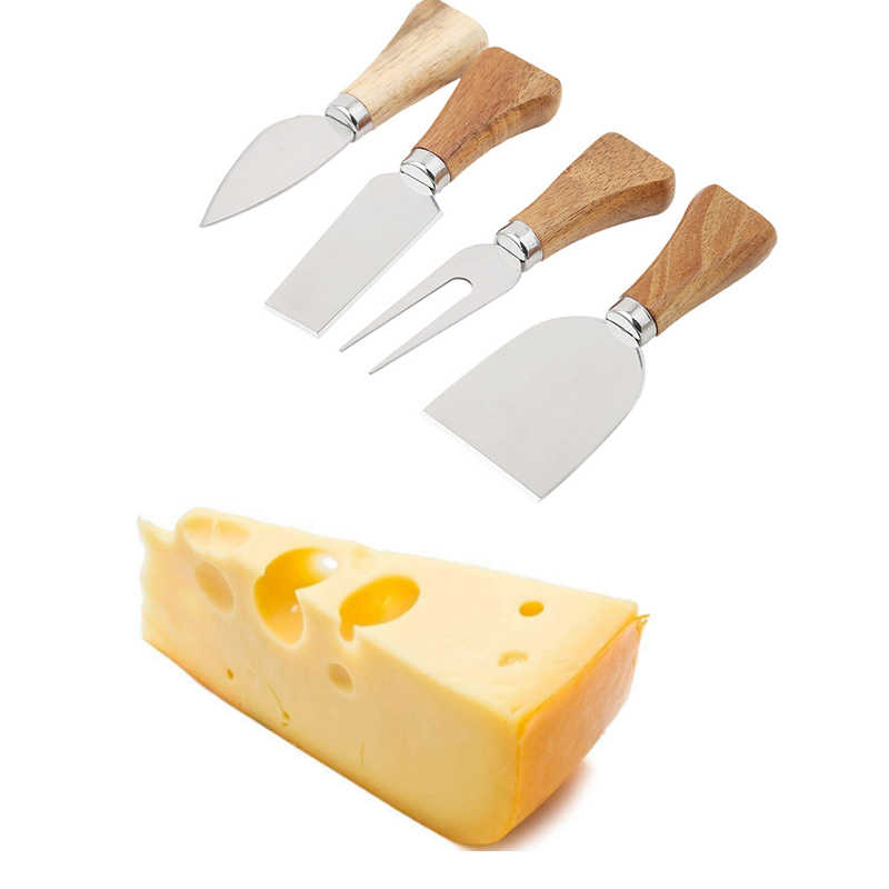 4pcs/set Knives Cheese Grater Board Set Bamboo Wood Handle Cheese Knife Slicer Kit Kitchen Cooking Tool Cheese Cutter Gadget