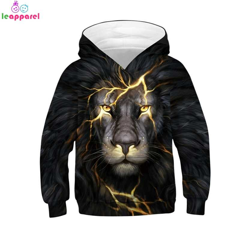 89c4e293e2 Brand Girls Boys Hoodies 2019 New Fashion Lightning Lion Printing 3D  Children Clothes Pullover Hoody Tops