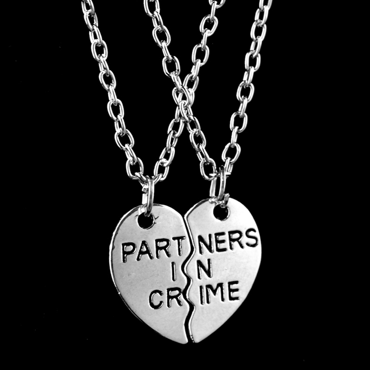 fashion friendship jewelry silver plated pendant couple necklace for best friend half and a half gifts partners in crime cool in pendant necklaces from