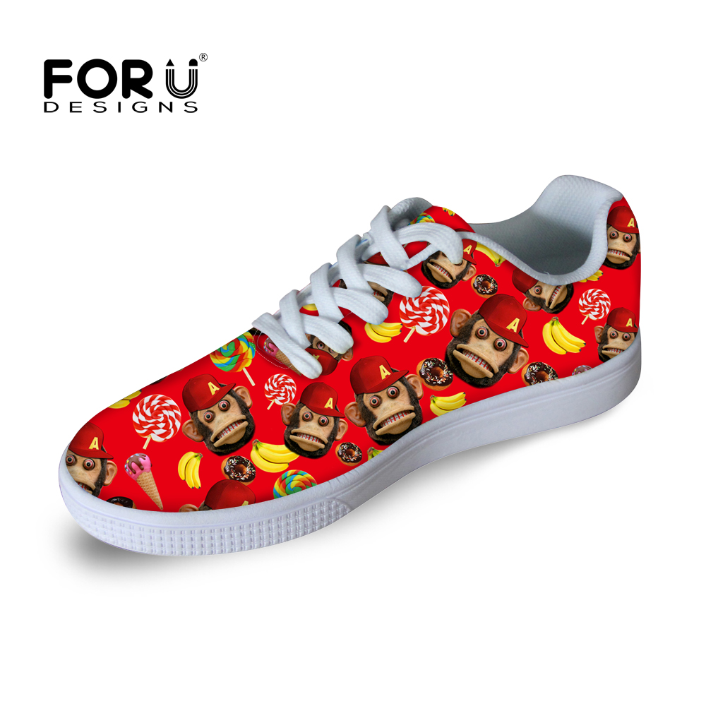 ФОТО Fashion 3D Animal Monkey Print Skate Shoes Women Lace-up Outdoor Walking Casual Zapatos Mujer Female Fitness Shoes Breathable