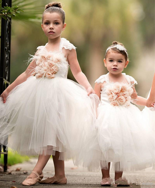 2017 Custom Made White Flower Girl Dresses For Weddings Lace Tulle Girls Pageant Gowns Ankle Length First Communion Gown