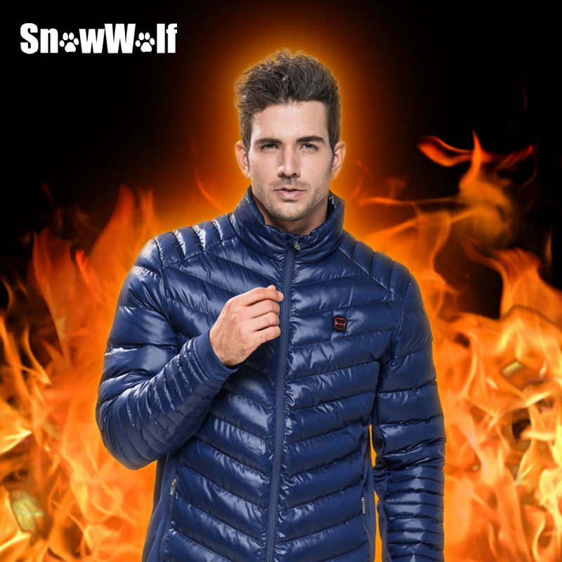 SNOWWOLF Heated Jacket Winter Outdoor Men Windbreaker Male Windproof Black Thermal Coat For Camping Fishing Hunting Hiking winter jacket for men outdoor hiking camping sports windbreaker jackets waterproof coat female