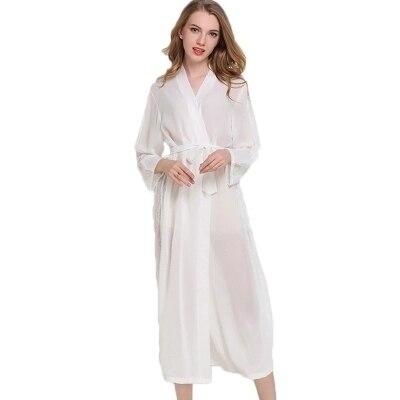 cec31c166d800 Long Chiffon Dress Silk Robe Women s Pajamas Sexy Transparent Bathrobe  Dressing Gowns For Women Mantle Lingerie