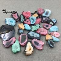 Multicolor Agates Quartz Druzy Geode Freeform Slab Beads,Raw Gems Stone Drusy Slice Top Drilled Pendant beads Jewelry MY1503