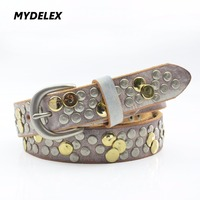 Fashion Women S Genuine Leather With Rivets Belt High Quality Hand Made Washing Leather Belts For