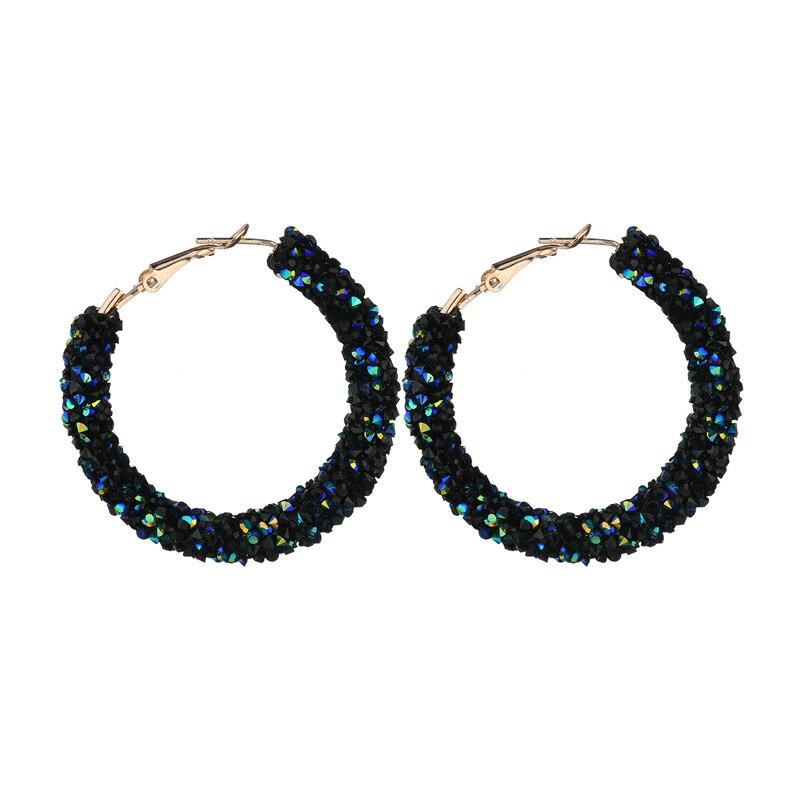 1fe44c5297194 US $1.26 |2018 Luxurious Big Shiny Rhinestone Austrian Crystal Circle Round  Hoop earrings For Women Geometric Fashion Brinco Boho Jewelry-in Hoop ...