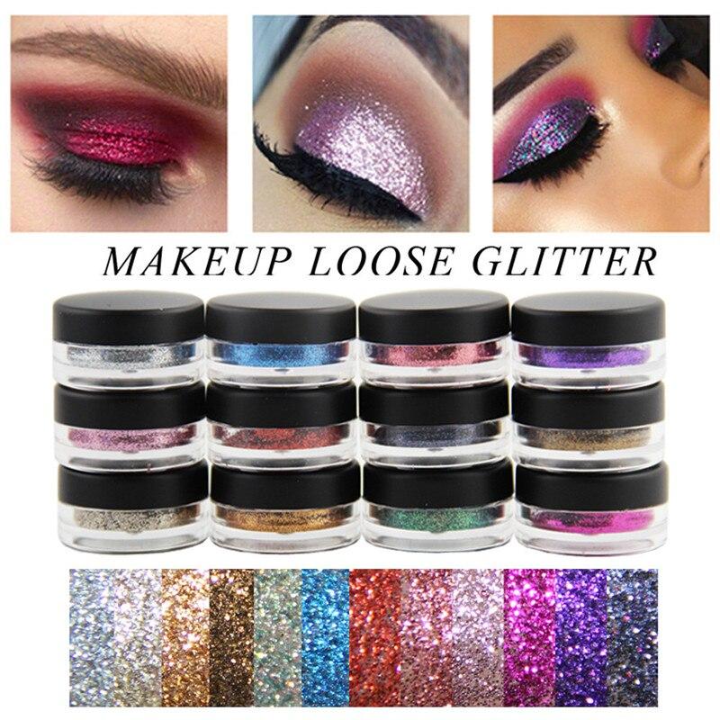 New 12 Colors Shimmer Glitter Eyeshadow Glitter Lip Gloss Powder Palette Glitter Cosmetic Eye -5040