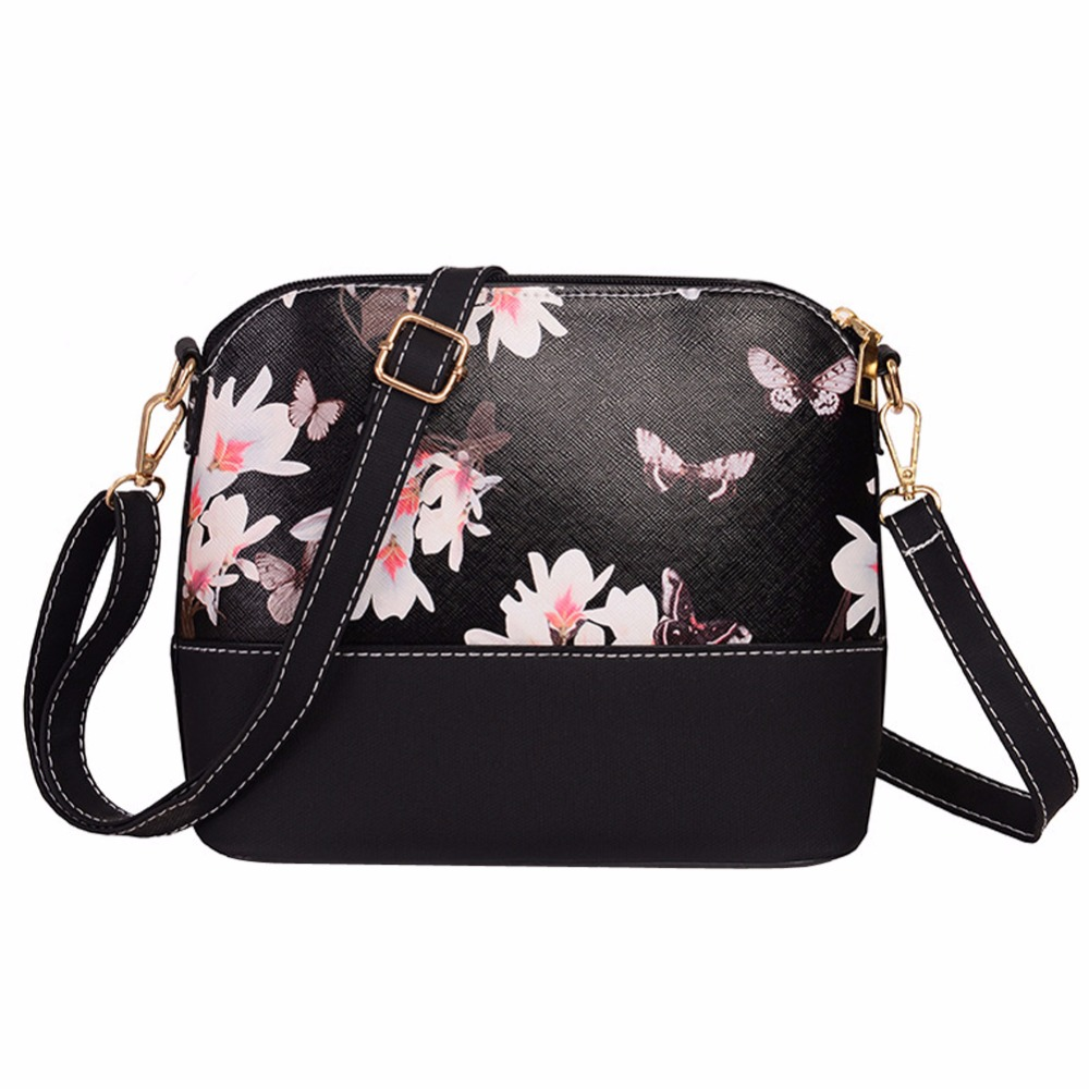 Hot Sale 2018 Fashion Women PU Leather Floral Print Handbag Shell Women Messenger Bags Small Crossbody Bag Bolsa Feminina