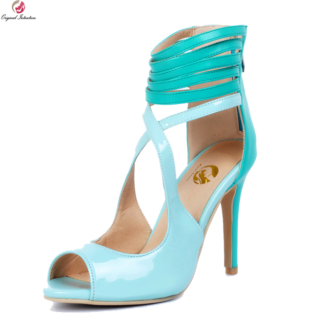 8bae8692bac Original Intention Fashion Women Sandals Nice Peep Toe Thin High Heels  Sandals Elegant Light Blue Shoes Woman Plus US Size 4-15