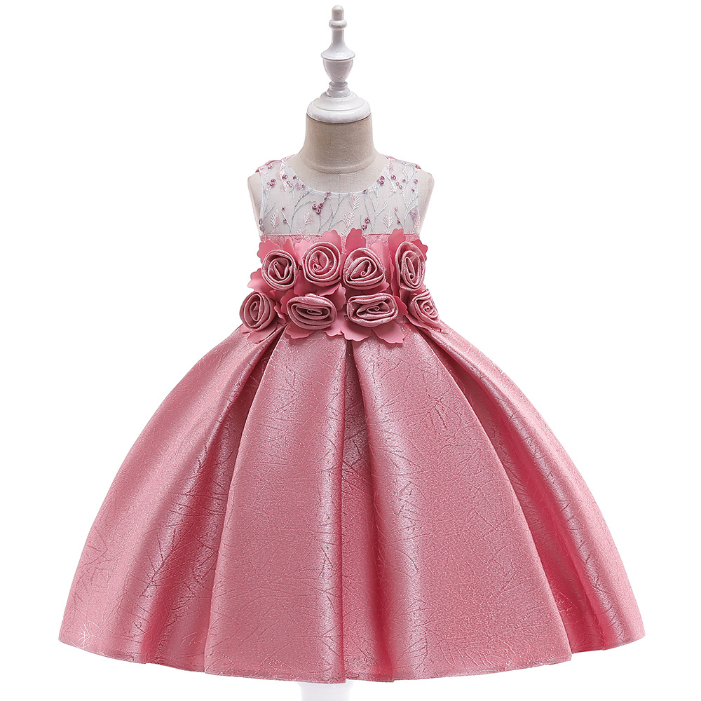 Blush Flower Girl Dresses European American Style Satin Rose Princess Hollow Ball Gown Little Girls Wedding Prom Formal Gown