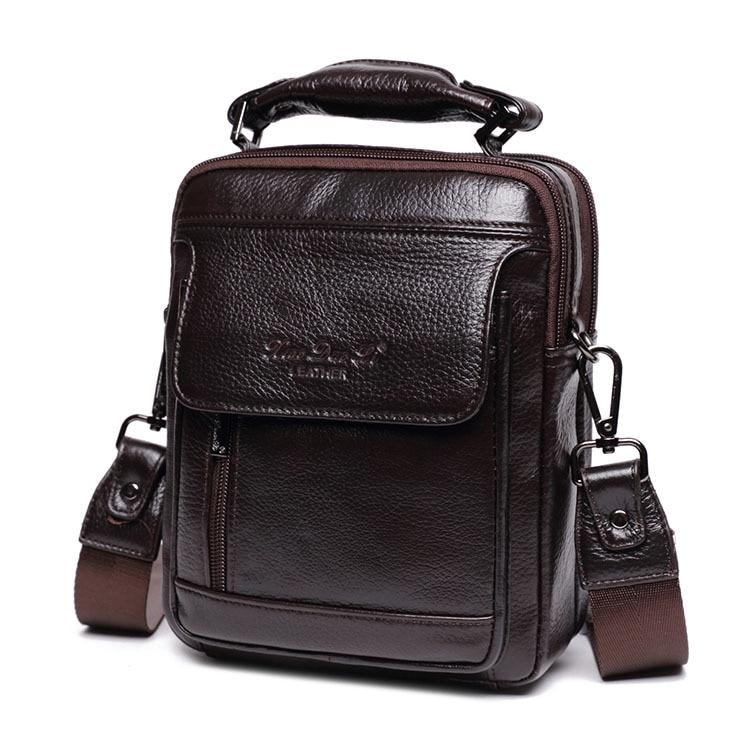 все цены на Little Dolly Men's Business Leisure Twisted bag leather head layer cowhide single-shoulder bag handheld male bag oblique hanging