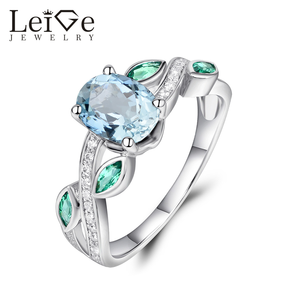 Leige Jewelry Oval Cut Natural Aquamarine Ring with Emerald Side Stones 925 Silver Engagement Rings for Women Christmas Gift