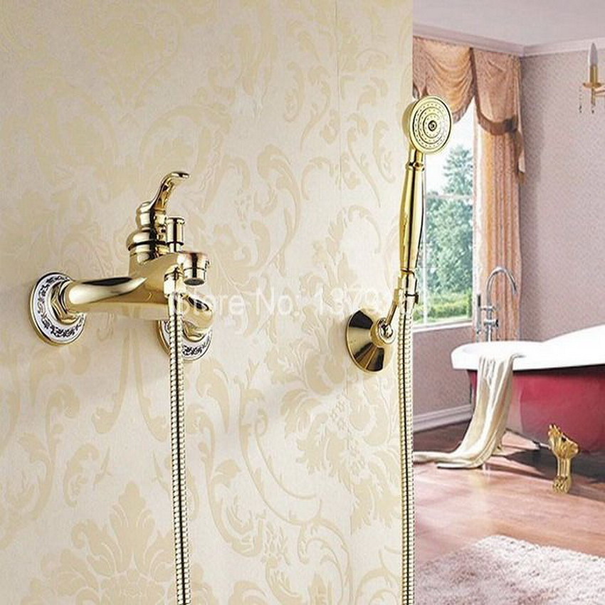 Gold Color Brass Wall Mounted Bathroom Single Handle Bathtub Faucet Tap Hand Held Shower set With Wall bracket &1.5m Hose atf403 цена