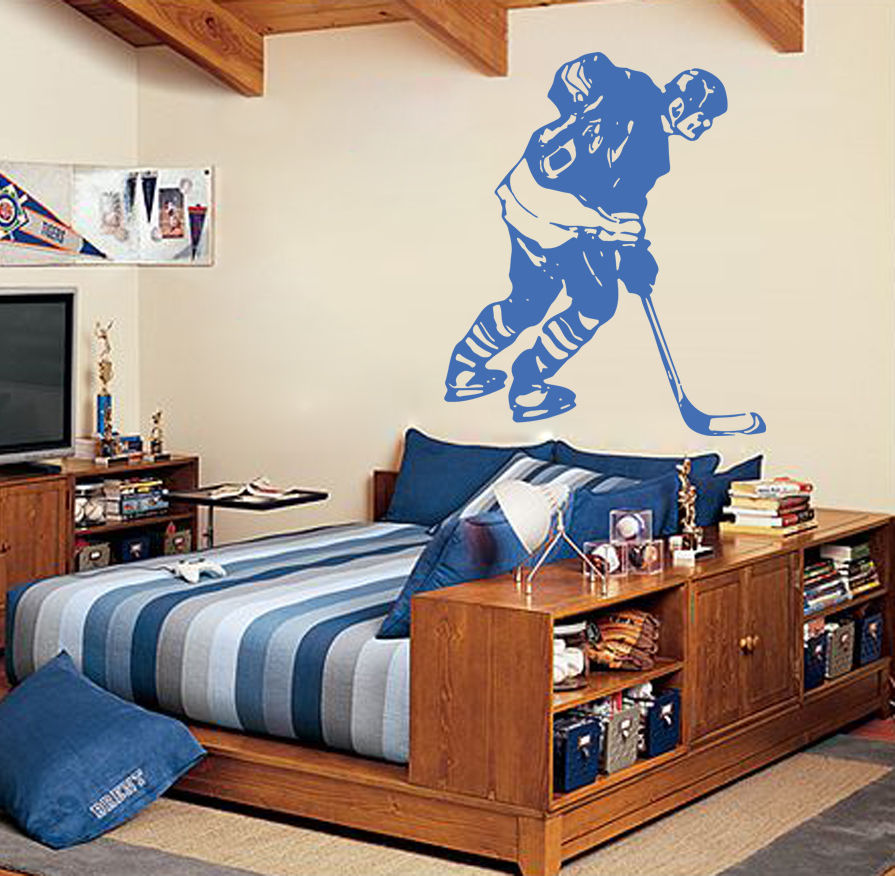 S011 hockey stick puck rink sport team game wall decal for Sports decals for kids rooms