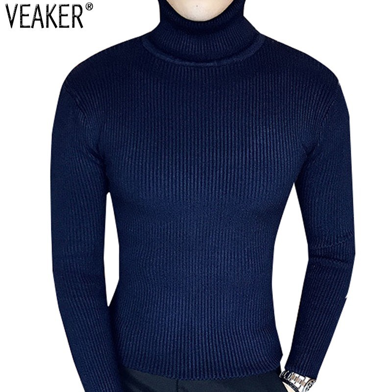2019 Autumn Winter Men's Turtleneck Sweaters Male Slim Fit Sweater Pullover Sexy Skinny Solid Color Knitwear Knitted Sweaters