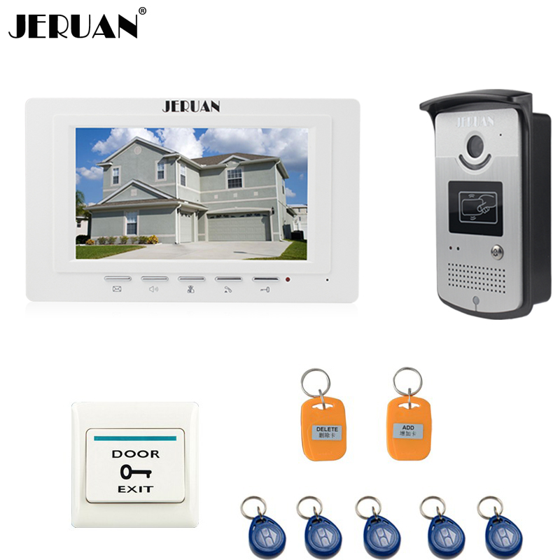 JERUAN New 7 inch LCD Video Doorbell door phone intercom system kit 700TVL RFID Access Control IR COMS Camera FREE SHIPPING jeruan two 7 monitors lcd screen video intercom video door phone handsfree access control system 700tvl camera cathode lock