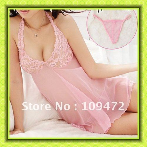 Wholesale Free Shipping Sexy Lingerie Underwear Dress G-String Panties Bra Thongs Gauze Spirit Corset Romantic Stunner 8036 1Set
