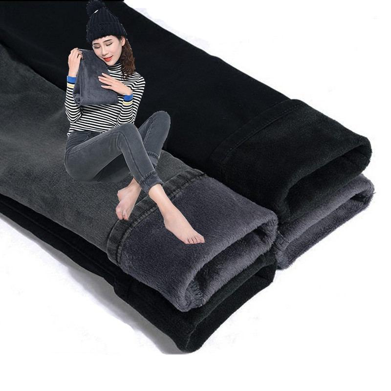 Skinny High Waist   Jeans   Women Plus Velvet Thicken Warm Trousers Denim   Jeans   Pants Slim Vintage Plus Size Pencil Pants   Jeans   Q738