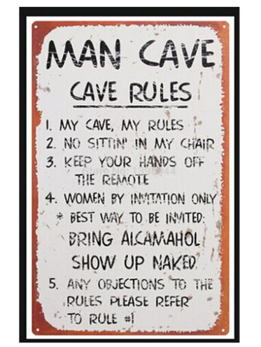 Free Shipping Man Cave Rules Custom Poster Fashion Bedroom Decoration  WallSticker PSV Wall Paper #0529