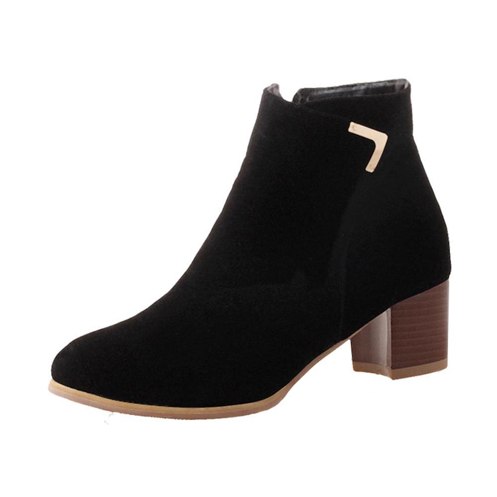 Femmes En Bottes Talons Mode Épais De Zipper Chaussures black Daim Nouvelle gray Cheville Flock Pour Beige 2018 Femme À vwm0ONn8