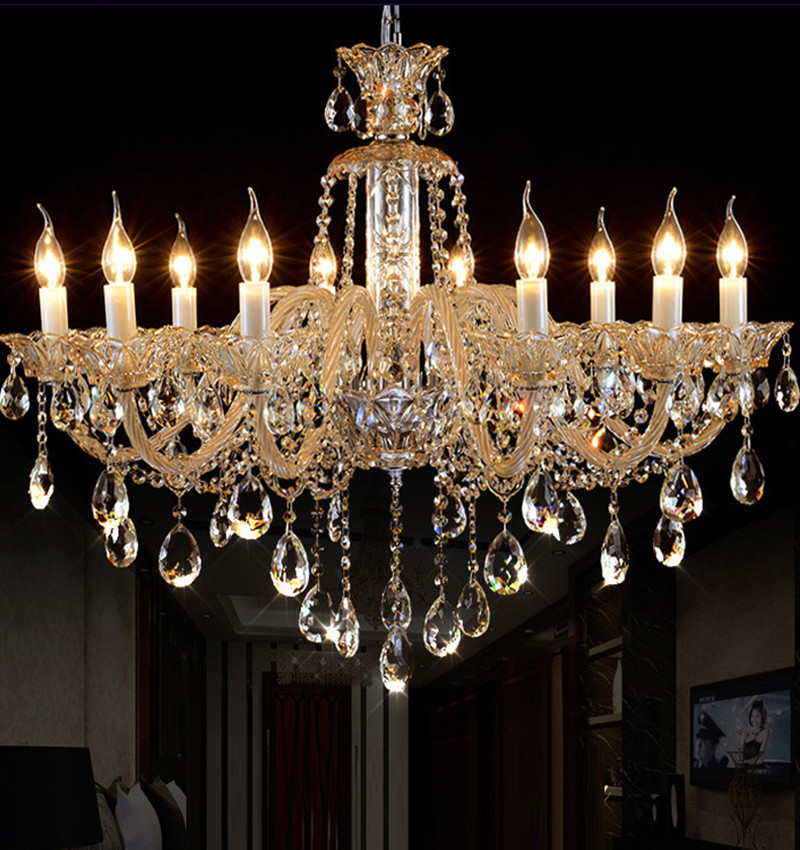 Antique Candle Chandeliers Champagne Crystal Chandelier: Foyer Champagne Modern Chandelier Coffee Shop Pendant