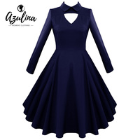 AZULINA 2017 Women Autumn 50s 60s Vintage Robes Solid Keyhole Neck Long Sleeves A Line Midi