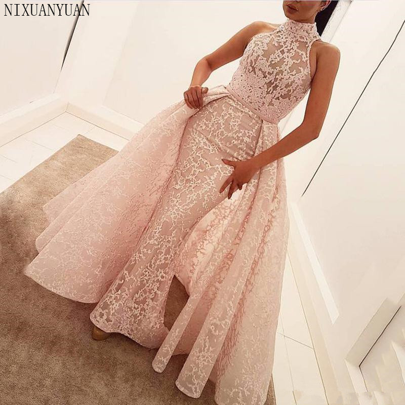 2019 Real Luxury Pink Mermaid Long Evening Dresses Detachable Train Sleeveless Halter Crystal Sparkly Evening Gown