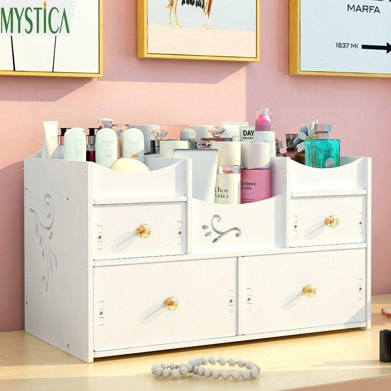 Nordic Desktop Cosmetic Organizer Box Home Plastic Drawer Dresser Storage Boxes Makeup Skin Care Jewelry Lipstick Holder Case