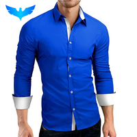 QINGYU Men Shirt Brand 2017 Male High Quality Long Sleeve Shirts Casual Hit Color Slim Fit
