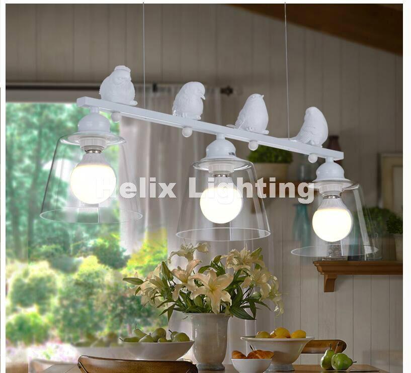 Livraison gratuite 3L LED L80cm blanc/noir Style nordique créatif bref Restaurant lumières oiseau personnalisé rustique verre suspension lampe