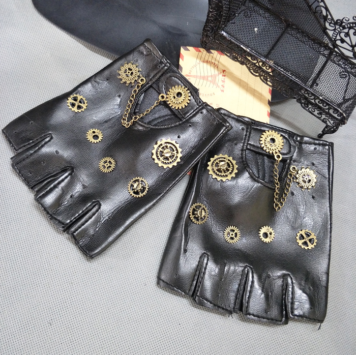 Steampunk Pu Leather Bandage Glove Retro Arm Bracelet With Compass Screw Gear Halloween Costumes Punk Style Accessory Boys Costume Accessories