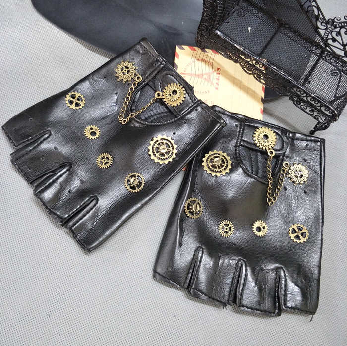Steampunk Gear PU Punk Gloves Vintage Gothic Unisex Cosplay Gloves Medieval Accessory Handmade Photography Fancy Dress