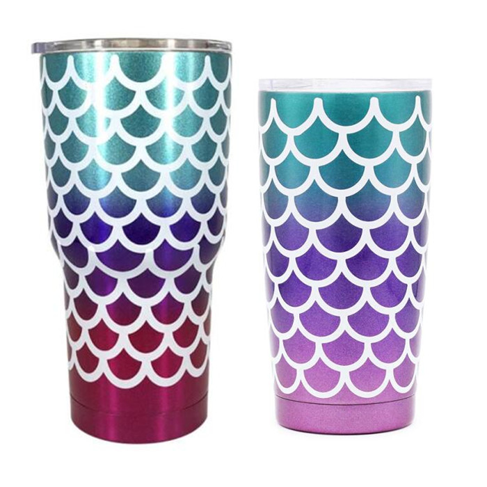 25pcs 20oz 30oz Mermaid Tumbler Insulated Stainless Steel Double Wall Vacuum Insulated Travel Mug Beer Cup