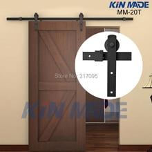 KIN MADE Free shipping-Home DIY Steel Sliding Barn Door Hardware-Rustic Wood Door Closet Hardware 4.1ft/5ft/5.2ft/6ft/6.6ft/8ft