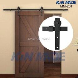 KIN MADE Free shipping-Home DIY stalowy osprzęt do drzwi przesuwnych do stodoły-rustykalne drewniane drzwi szafa sprzęt 4.1ft/5ft/5.2ft/6ft/6.6ft/8ft