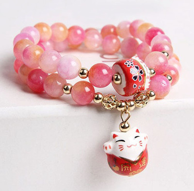 Korea Fashion Natural Crystal Maneki Neko Charm Bracelet Multi-layer Lucky Womens Jewelry Pinky Color Great Gift