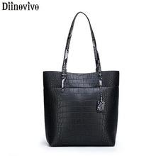 DIINOVIVO Crocodile Pattern Women's Handbag Serpentine Handle Tote Female Bags High Quality Women Bag Over Shoulder Bag WHDV1166