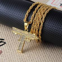 New Full Rhinestone Uzi Gun Cross Pendant Necklaces Long Cuban Link Chain Fashion Necklace For Unisex Hip Hop Jewelry(China)