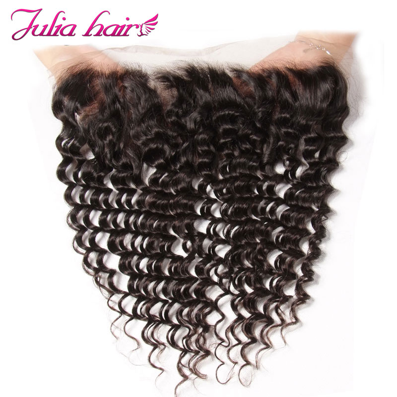 Ali Julia Brazilian Deep Wave Lace Frontal Closure Human Hair 13 4 Ear to Ear Pre