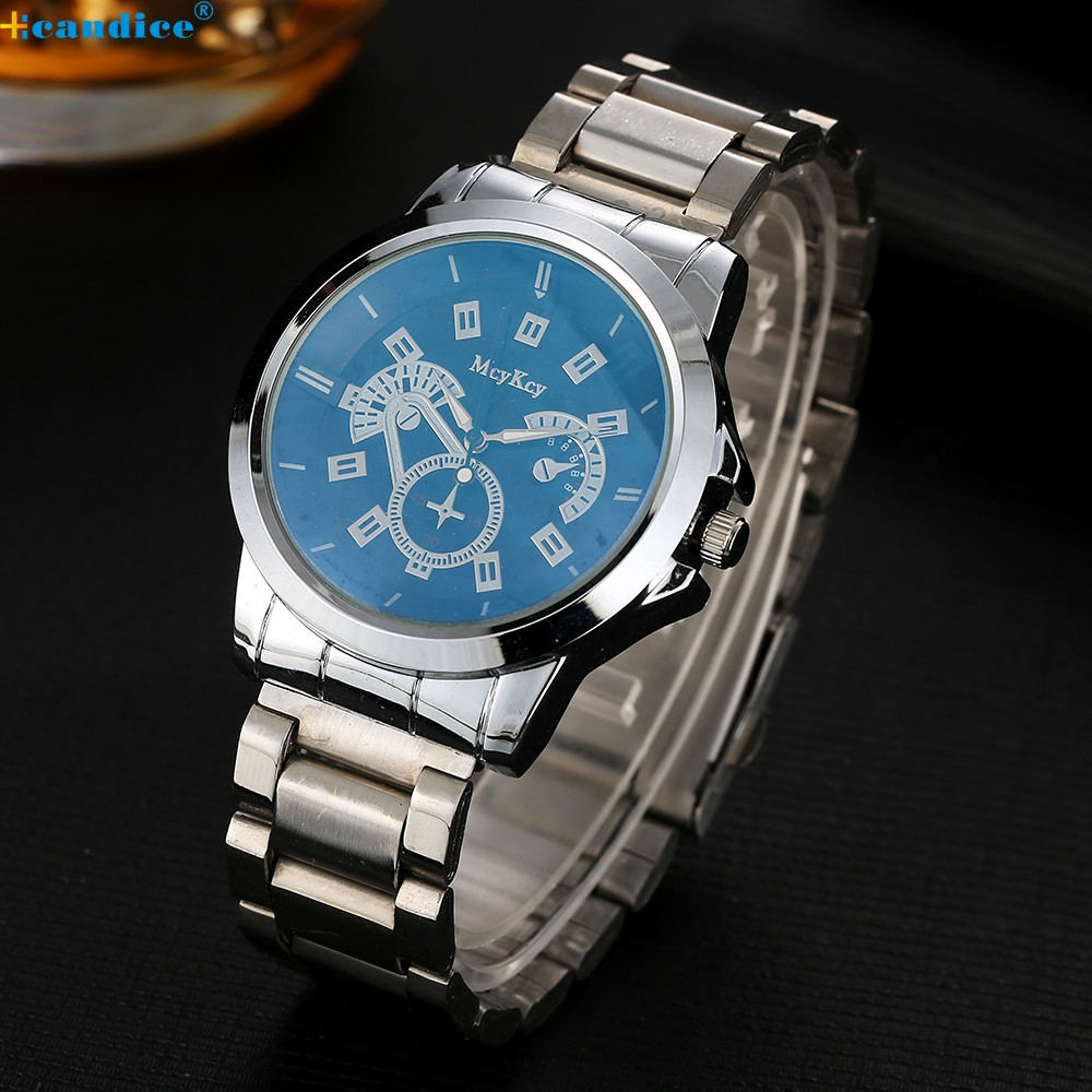 McyKcy Mens fashion casual watches Silver Stainless Steel Date Quartz Analog Sport Wrist Watch Relogio Masculino 2016 new fashion watches men motion form mens watches stainless steel band sport quartz hour wrist analog watch birthday gifts