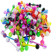50pcs Mixed Ball Tongue Ring Navel Nipple Barbell Rings Bars Body Jewelry Piercing Random Color