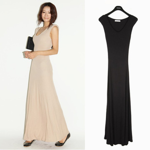 Free shipping 2013 spring high quality sexy stretch Slim long dress maxi long dress With Shoulder pads