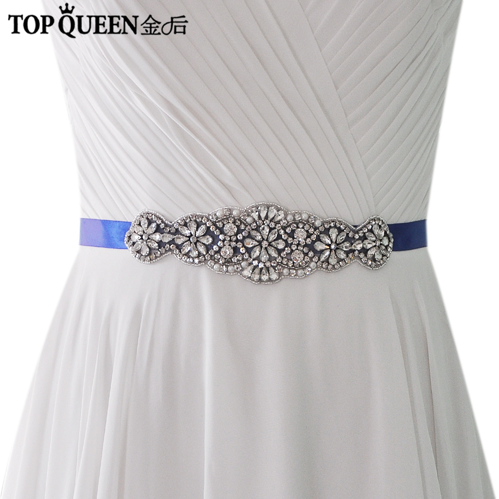 TOPQUEEN S94 Handmade Wedding Belt Rhinestone Chain Belt Wedding Sash Belts Crystals And Rhinestone Belt Sliver Diamond Belt